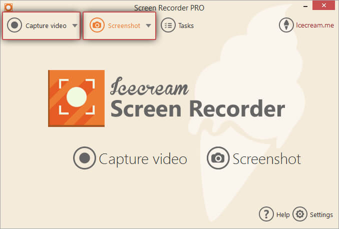 Click the Capture video or Screenshot button
