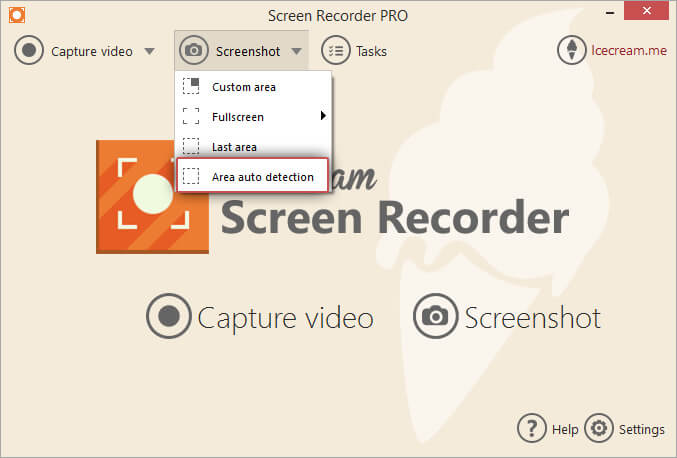 Select the Area auto detection option for screenshots