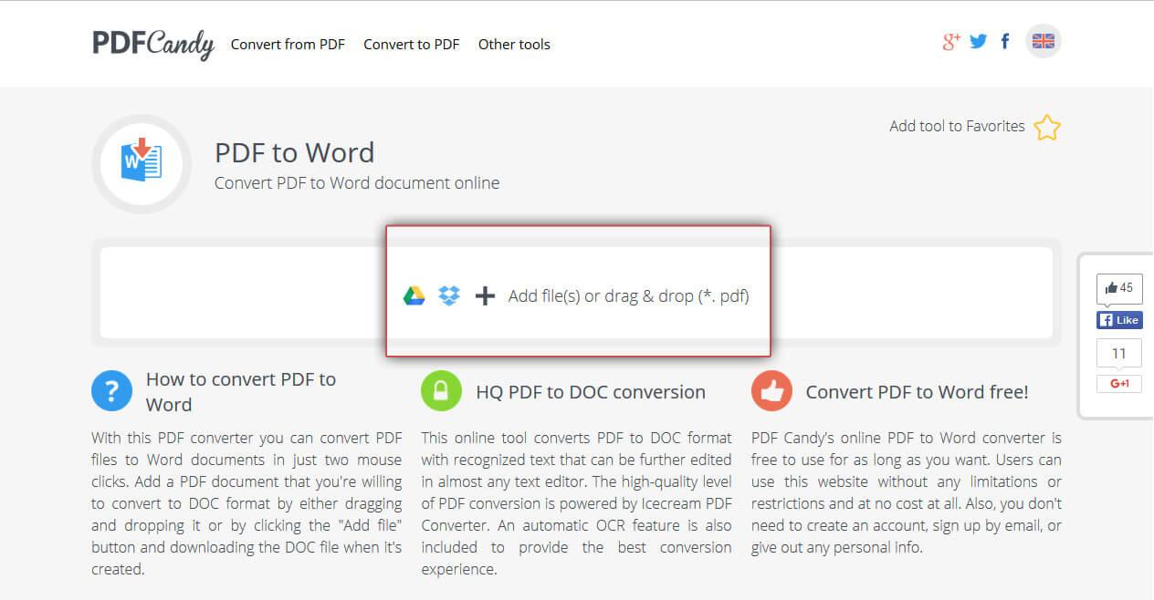 Upload a PDF document