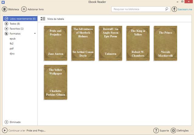 Biblioteca Ebook: vista estante