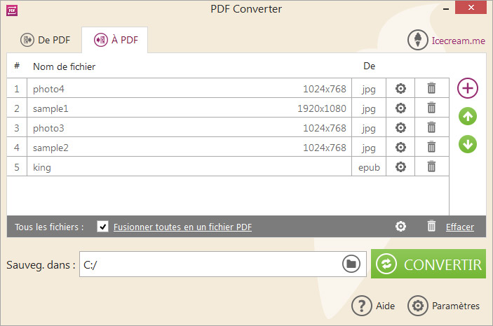 Mode conversion vers le format PDF