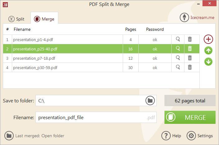 Merge PDF mode